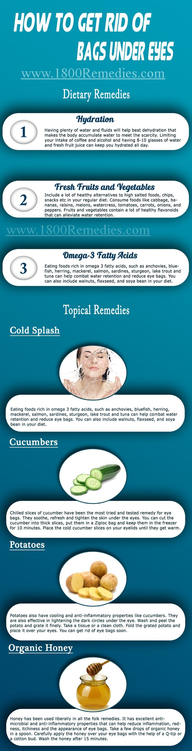 There are many remedies which you can follow to get rid of puffy bags under your eyes. Doctors also prescribe medicines for it, but these allopathic medicines come with some side effects. So, it is always better to try home remedies first, which are easy to get and come with no side effects. Let's have a look at those remedies.