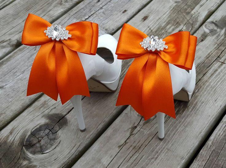 Wedding Shoe Clips,Bridal Shoe Clips, Rhinestone Shoe Clips, Orange Satin,MANY COLORS, Bow Shoe Clips, Clips for Wedding Shoes, Bridal Shoes by ShoeClipsOnly on Etsy