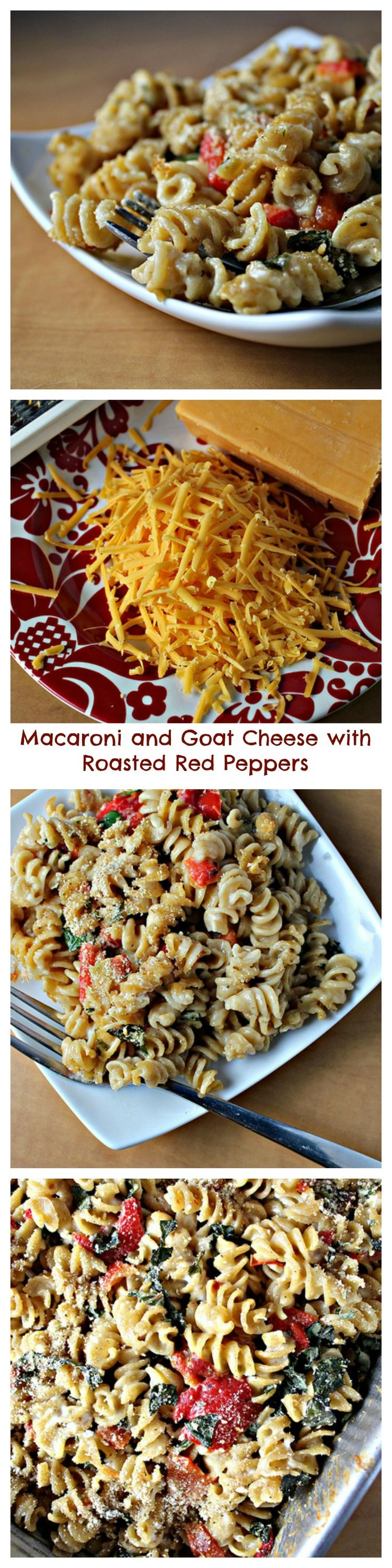 macaroni and goat cheese with roasted red peppers