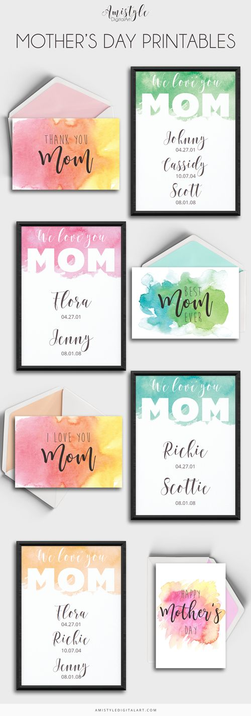 Watercolor Printables for Mother's Day, Wall art and greeting card printables by Amistyle Digital Art
