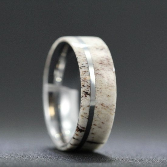 Titanium Ring inlaid with Deer Antler Inlay by jewelrybyjohan, $329.00