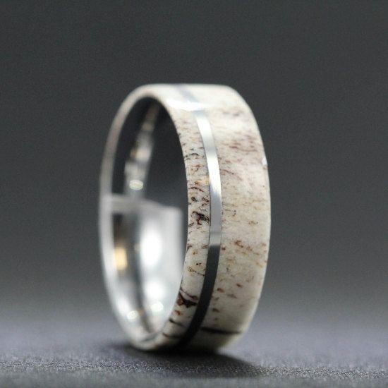 Deer Antler Ring With Titanium Pinstripe Ring Titanium ring and