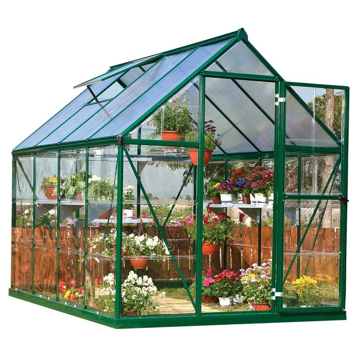 6' x 8' x 7' Nature Greenhouse Forest Green - Palram | Diy ...