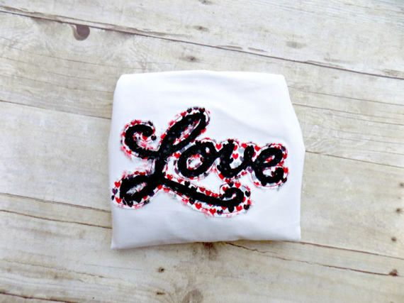 Girls Valentines Day Tshirt, Toddlers Valentines Day Shirt, Valentines Day Shirt for Infants, Love shirt,Embroidered,Appliqued,Ruffle Raglan