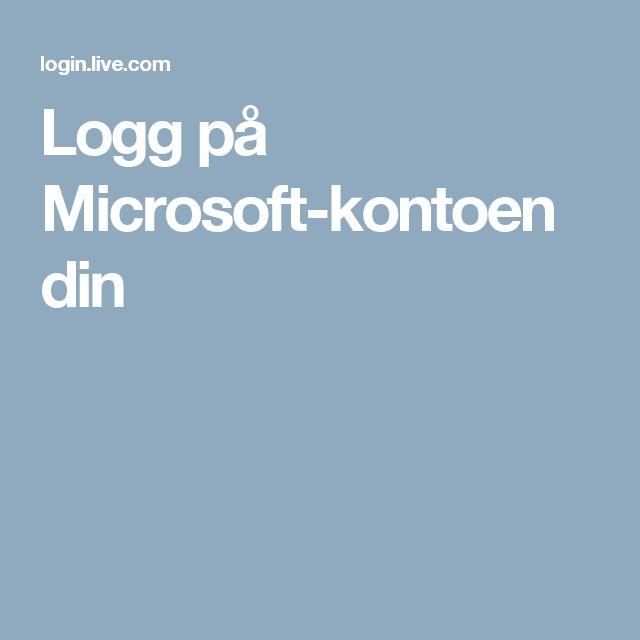 Logg på Microsoft-kontoen din