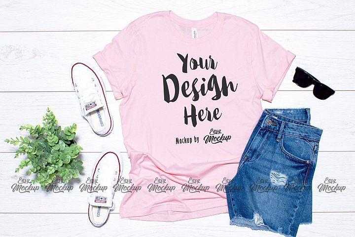 Pink Bella Canvas 3001 T Shirt Mockup 210664 Mockups Design Bundles Shirt Mockup Mockup Design Tshirt Mockup