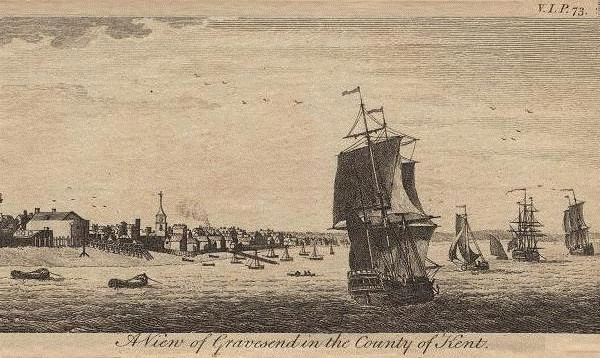 18th century engraving of Gravesend. Gravesend, Kent, is the port at the mouth of the Thames. It was the point of debarkation for passengers and cargo and it was here that one could take a ship for a sea voyage.