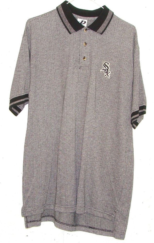 Dynasty Chicago White Sox Mens Grey Embroidered Logo Short Sleeve Polo Shirt L #Dynasty #PoloRugby