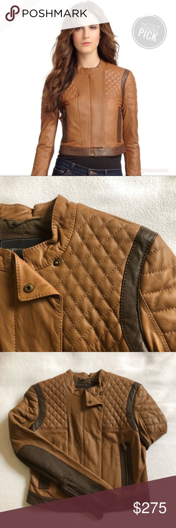 [BCBG] Tan Leather Motorcycle Jacket NWOT NWOT! BCBGMAXARIA Josh Leather Motorcycle Jacket - Quilted panels at shoulders - Zipper pockets; Front zipper closure - Tonal top stitching and panel seaming - Material: 100% lamb leather; 100% polyester lining - Color: Dark Bisque - Condition: NWOT - Size: S BCBGMaxAzria Jackets & Coats