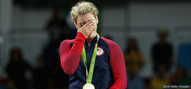 Gold medalist Helen Maroulis reacts at the medal ceremony after the women's freestyle 53 kg. competition at the Rio 2016 Olympic Games at Carioca Arena 2 on Aug. 18, 2016 in Rio de Janeiro.