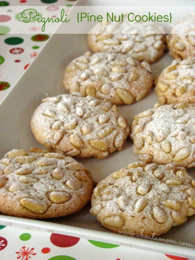 Pignoli {Pine Nut Cookies} 8 ounces almond paste 1/2 cup granulated sugar 1/2 cup confectioners' sugar 1/8 teaspoon salt 1/4 cup flour 2 egg whites (about 6 tablespoons) 1 cup pine nuts