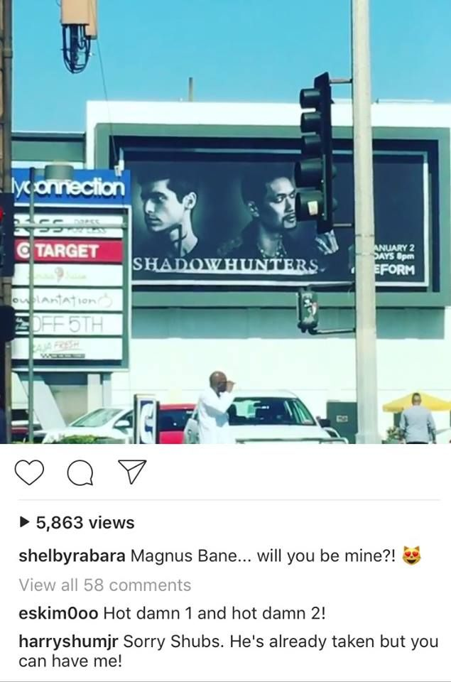 Harry Shum Jr. and his wife on Instagram | Harry is Magnus Bane | shelbyrabara is his wife | eskim0oo is Matthew Daddario (Alec Lightwood)'s girlfriend