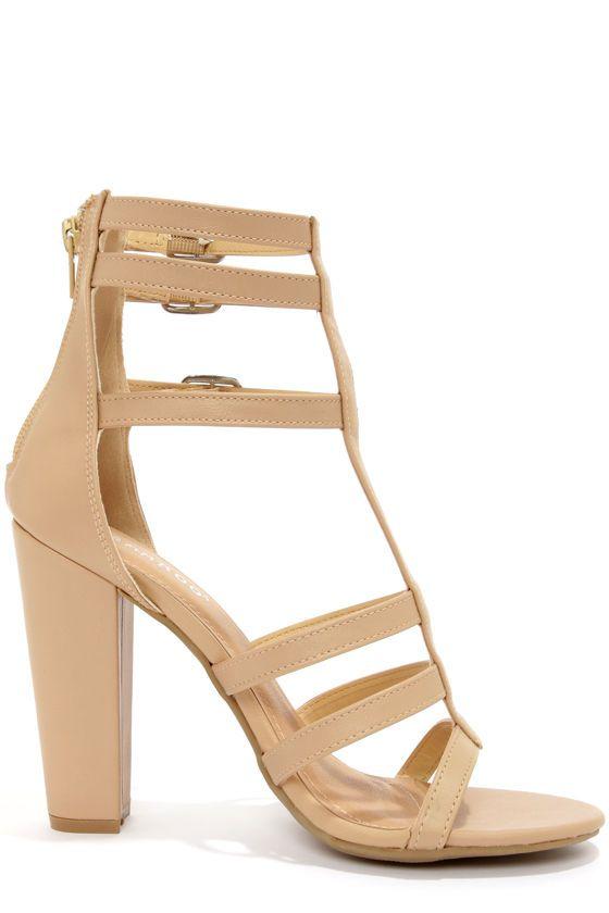 Bamboo Senza 07 Sand Strappy Peep Toe Heels | Peep Toe Heels, Peep ...