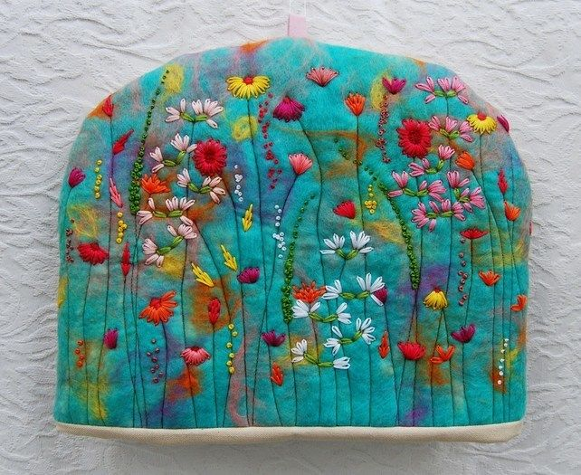 Hand Embroidered and Hand Felted Cottage Flower Garden Tea Cosy on Folksy, the British answer to Etsy
