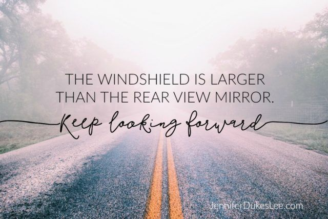The windshield is much larger than the rear view mirror. It means we need to spend much more time looking ahead than looking back.