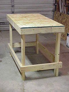 Workbench complete except for bottom shelf.