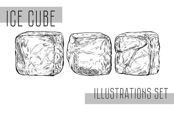 Ice Cubes Sketch Set Ice Cube Drawing Ice Cube Seamless Patterns