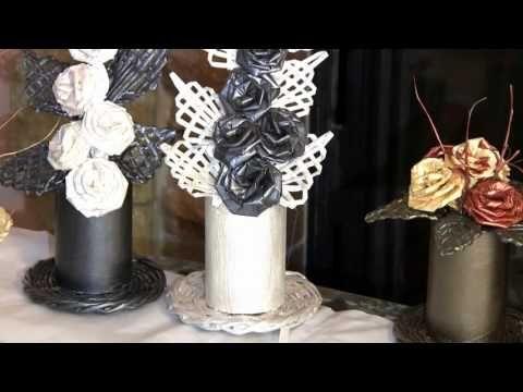 Елена Тищенко предлагает свой вариант плетения из газетных трубочек цветочной композиции. Состоит композиция из цветка из бумажных трубочек, ажурного лепестк...