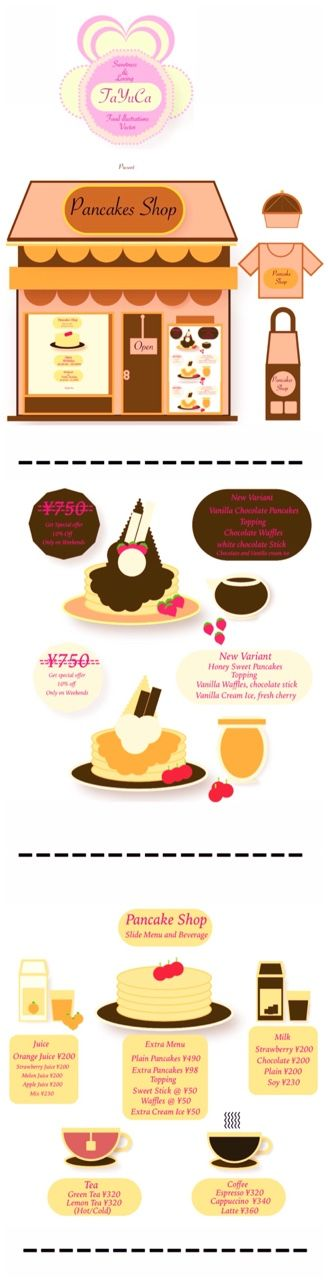 TaYuCa Vector Food Illustrations — New Pancakes Shop