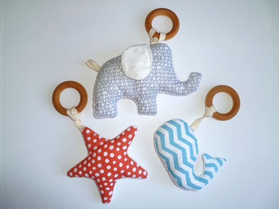 Organic baby toy plush wooden teething ring rattle made to order elephant starfish whale handmade modern organic baby gift
