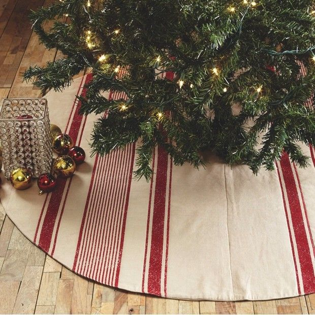 "Red and White 48"" Christmas Tree Skirt"