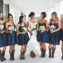 Jackie Willome Photography The bridesmaids looked chic in matching navy blue swe…
