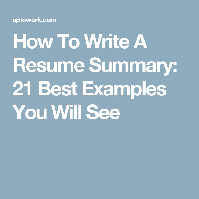 How To Write A Resume Summary: 21 Best Examples You Will See  How To Write A Resume Summary
