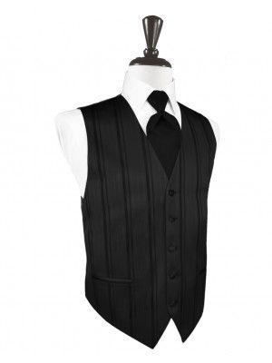 Black Striped Satin Tuxedo Vest