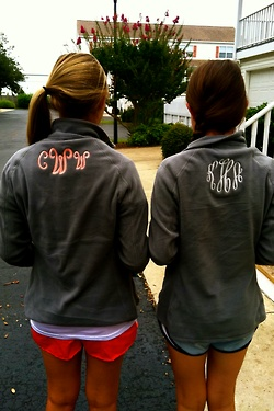 Monogrammed pullovers cute bridesmaid gift for a winter wedding :)