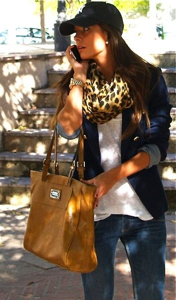 Love the way the leopard scarf makes this everyday outfit look a little more sophisticated. Love that bag too. add riding boots and a total winner!