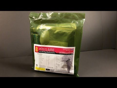 2016 Royal Thai Army MRE Review Panang Curry Chicken Meal Ready to Eat T...