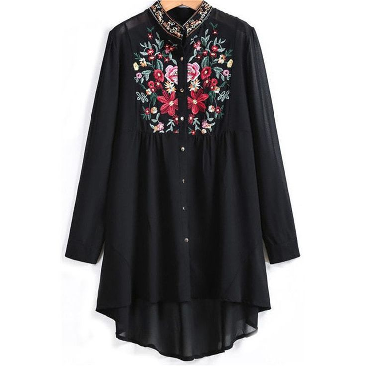 Floral Embroidered Vintage Long Top
