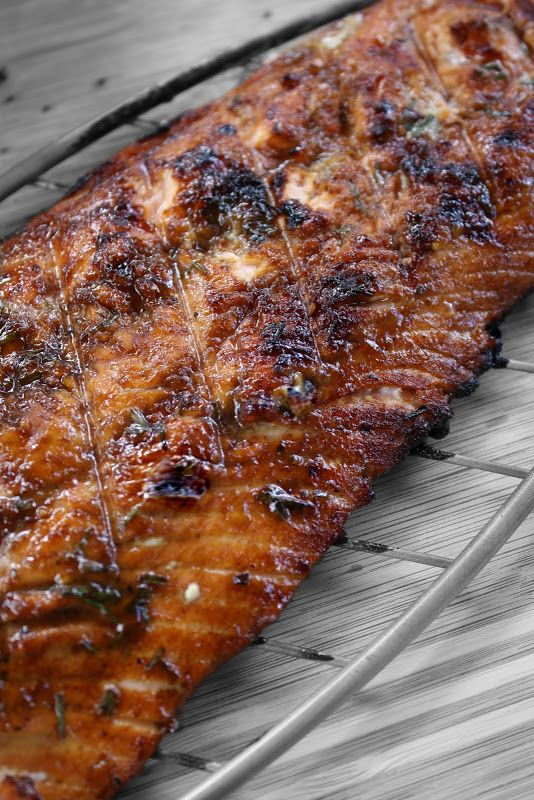 Dinners & Dreams » Grilled Salmon with Pomegranate Molasses and Chives