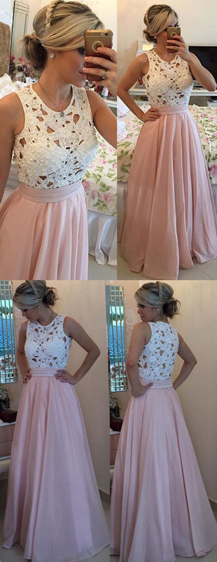Long Prom Dresses with Pearls, 2017 Prom Dresses for women, Elegant prom dresses, High quality prom dresses,coral prom dresses,cheap prom dresses, new arrival prom dresses, white lace prom dresses
