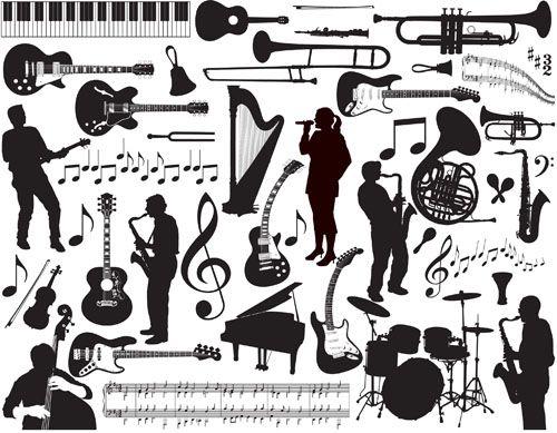 Музыкальные инструменты и исполнители - силуэты в векторе