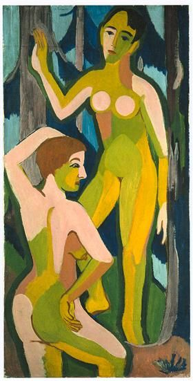 Two Nudes in the Wood II - Ernst Ludwig Kirchner