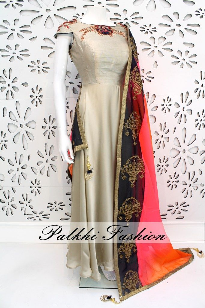 PalkhiFashion Exclusive Full Flair Grey Crepe Silk Outfit with Elegant Work and Duppata.