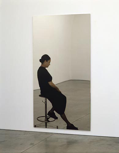 Michelangelo Pistoletto Maria a colori (Maria in color), 1993 Silkscreen print on polished stainless steel 90 1/2 x 49 1/4 inches (230 x 125 cm)