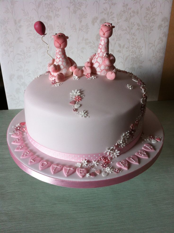 Twins Girls Christening Cake Naming Day Cake Www Porsham