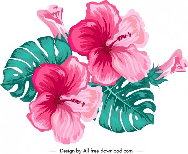 Hibiscus Flower Icon Colorful Classical Flower Icons Hibiscus Flowers Vector Free