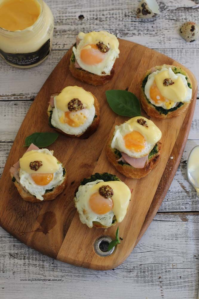 Fun party sized baby Eggs benedict not only look cute but taste great too!