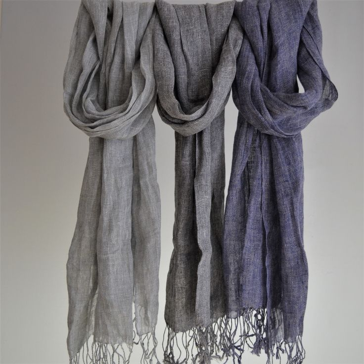 100% French Linen Marl Scarf in Navy Grey & Graphite