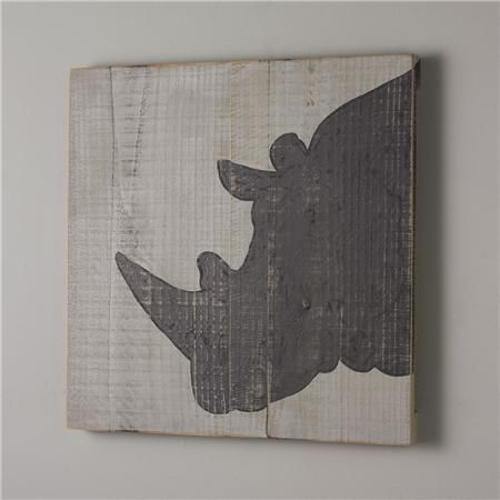 24x24 Gray Rhino Wood Wall Painting