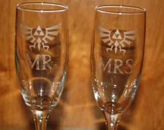 Etched Legend of Zelda Inspired Champagne Flutes