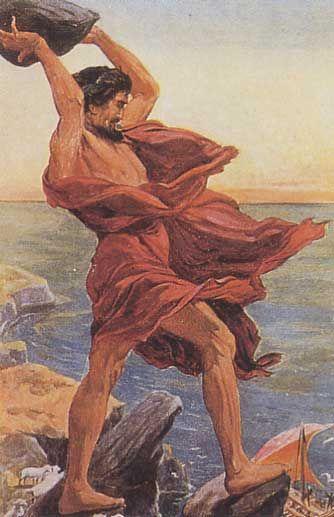 Polyphème lançant un roc le bateau d'Ulysse   Mythologie, Cyclope, Mythologie grecque