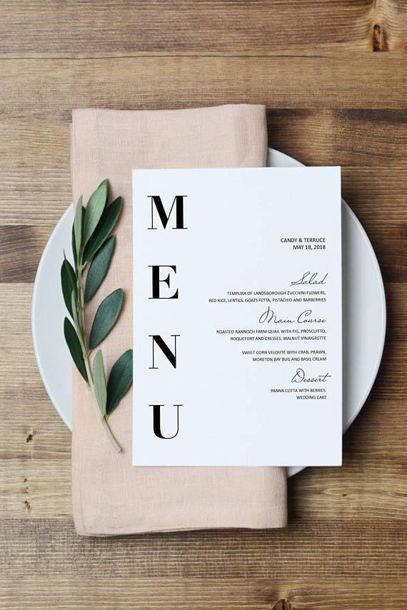 Hochzeitsmenüvorlage, moderne Menükarten Vorlage, minimale Menüvorlage, Hochzeitsmenü zum Aus…