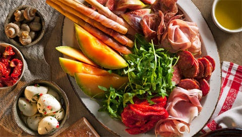 Antipasto platter: Antipasti means 'before the meal', but with a platter this full of variety, there'll be no room left for the main course!