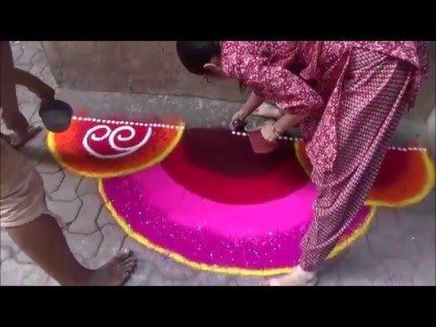 Artistic Rangoli design Rangoli with beautiful color combination