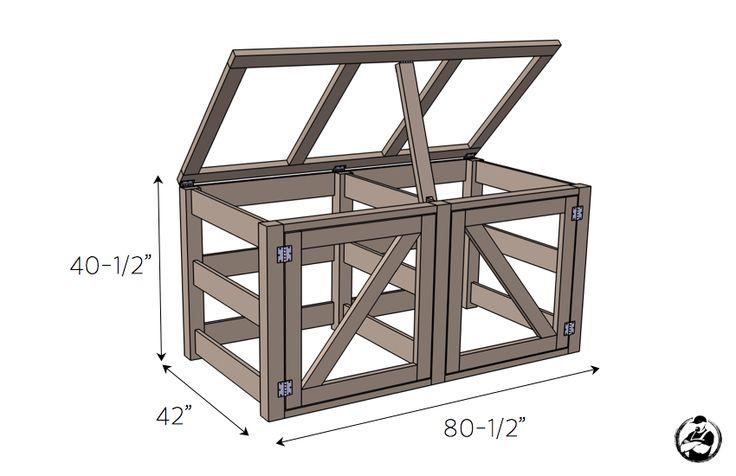 DIY Double Compost Bin Plans - Dimensions