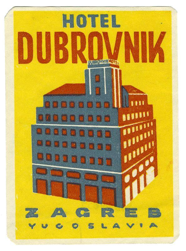 Hotel Dubrovnik - Zagreb, Yugoslavia (Luggage Label) by Artist Unknown   International Poster Gallery